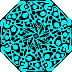 Cyan and black abstract decor Folding Umbrellas