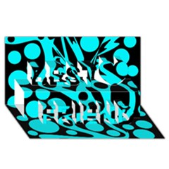 Cyan and black abstract decor Best Friends 3D Greeting Card (8x4)