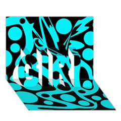 Cyan and black abstract decor GIRL 3D Greeting Card (7x5)