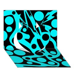Cyan and black abstract decor Heart 3D Greeting Card (7x5)