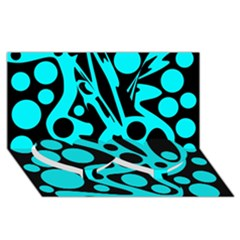 Cyan and black abstract decor Twin Heart Bottom 3D Greeting Card (8x4)