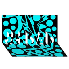 Cyan and black abstract decor #1 DAD 3D Greeting Card (8x4)