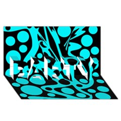 Cyan and black abstract decor PARTY 3D Greeting Card (8x4)