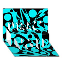 Cyan and black abstract decor Miss You 3D Greeting Card (7x5)