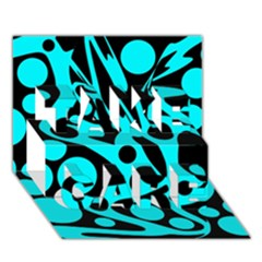 Cyan and black abstract decor TAKE CARE 3D Greeting Card (7x5)