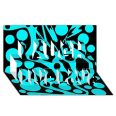 Cyan and black abstract decor Laugh Live Love 3D Greeting Card (8x4)