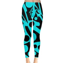 Cyan and black abstract decor Leggings