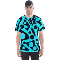 Cyan and black abstract decor Men s Sport Mesh Tee