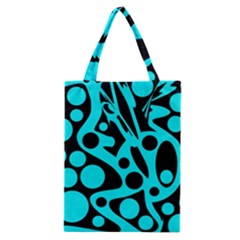 Cyan and black abstract decor Classic Tote Bag