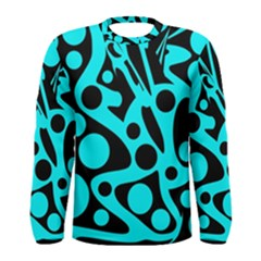Cyan and black abstract decor Men s Long Sleeve Tee
