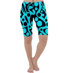 Cyan and black abstract decor Cropped Leggings
