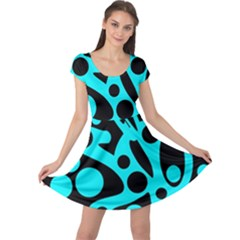 Cyan and black abstract decor Cap Sleeve Dresses