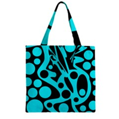 Cyan and black abstract decor Zipper Grocery Tote Bag