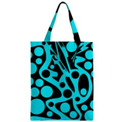 Cyan and black abstract decor Zipper Classic Tote Bag