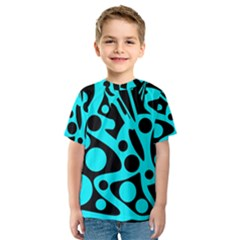 Cyan and black abstract decor Kid s Sport Mesh Tee
