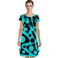Cyan and black abstract decor Cap Sleeve Nightdress