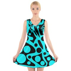 Cyan and black abstract decor V-Neck Sleeveless Skater Dress