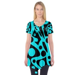 Cyan and black abstract decor Short Sleeve Tunic