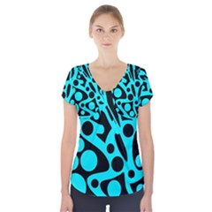 Cyan and black abstract decor Short Sleeve Front Detail Top