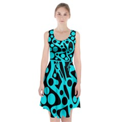 Cyan and black abstract decor Racerback Midi Dress