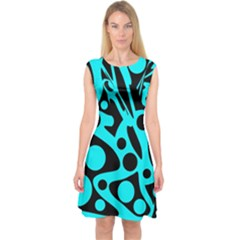 Cyan And Black Abstract Decor Capsleeve Midi Dress