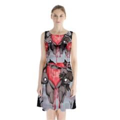 Til Death Sleeveless Chiffon Waist Tie Dress