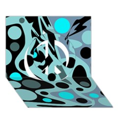 Cyan blue abstract art Peace Sign 3D Greeting Card (7x5)