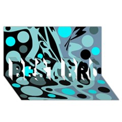 Cyan blue abstract art BEST BRO 3D Greeting Card (8x4)