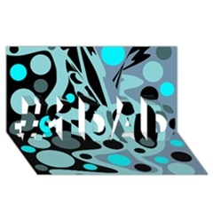 Cyan blue abstract art #1 DAD 3D Greeting Card (8x4)