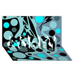 Cyan blue abstract art SORRY 3D Greeting Card (8x4)