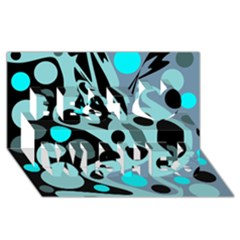 Cyan blue abstract art Best Wish 3D Greeting Card (8x4)