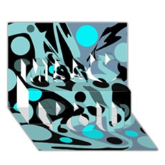 Cyan blue abstract art Miss You 3D Greeting Card (7x5)