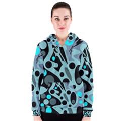 Cyan blue abstract art Women s Zipper Hoodie