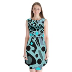 Cyan blue abstract art Sleeveless Chiffon Dress