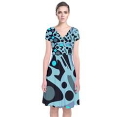 Cyan blue abstract art Short Sleeve Front Wrap Dress