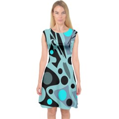 Cyan Blue Abstract Art Capsleeve Midi Dress