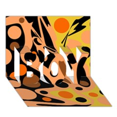 Orange abstract decor BOY 3D Greeting Card (7x5)