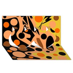Orange abstract decor Twin Hearts 3D Greeting Card (8x4)