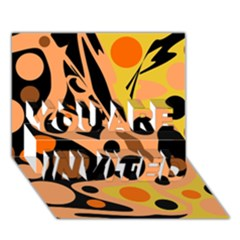 Orange abstract decor YOU ARE INVITED 3D Greeting Card (7x5)