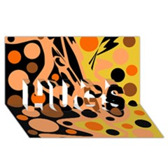 Orange abstract decor HUGS 3D Greeting Card (8x4)