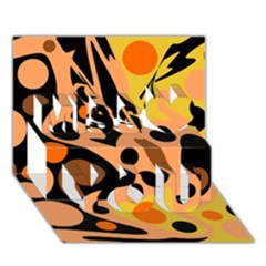 Orange abstract decor Miss You 3D Greeting Card (7x5)
