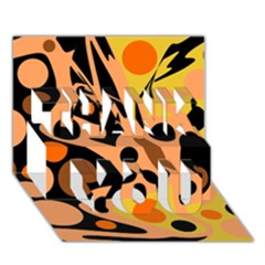Orange Abstract Decor Thank You 3d Greeting Card (7x5)