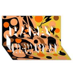 Orange abstract decor Happy New Year 3D Greeting Card (8x4)