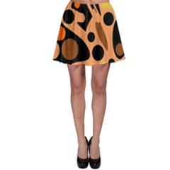Orange abstract decor Skater Skirt