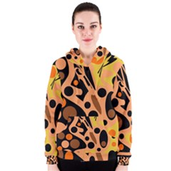 Orange abstract decor Women s Zipper Hoodie