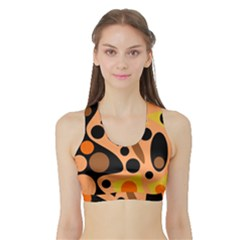 Orange abstract decor Sports Bra with Border
