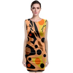 Orange Abstract Decor Classic Sleeveless Midi Dress