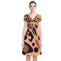 Orange abstract decor Short Sleeve Front Wrap Dress
