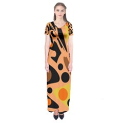 Orange abstract decor Short Sleeve Maxi Dress