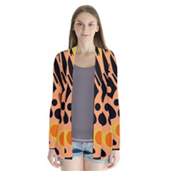 Orange Abstract Decor Drape Collar Cardigan
